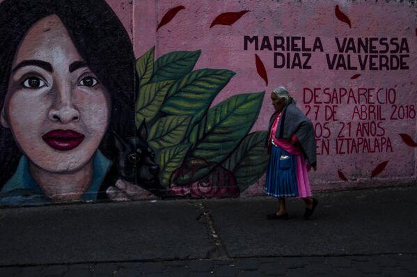 Mural de Mariela Vanessa Díaz Valverde, desaparecida el 27 de abril de 2018 en las proximidades del metro Iztapalapa, en Ciudad de México donde fue vista por última vez, elaborado por el сolectivo Hasta Encontrarles CdMx. - Sputnik Mundo