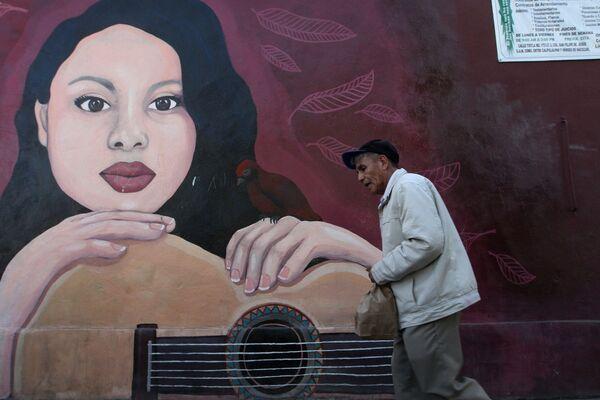 Mural de Sarahí Maricarmen López Pérez, desaparecida el 27 de agosto del 2018. El memorial está ubicado en la calle Canal Camino San Juan de Aragón de la colonia Casas Alemán en la alcaldía Gustavo A. Madero. - Sputnik Mundo