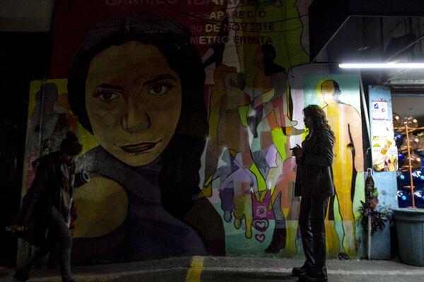 Mural a Viviana Elizabeth Garrido Ibarra, desaparecida el 30 de noviembre de 2018 que fue pintado próximo al metro Ermita que fue el último lugar del que se conoció su paradero. - Sputnik Mundo