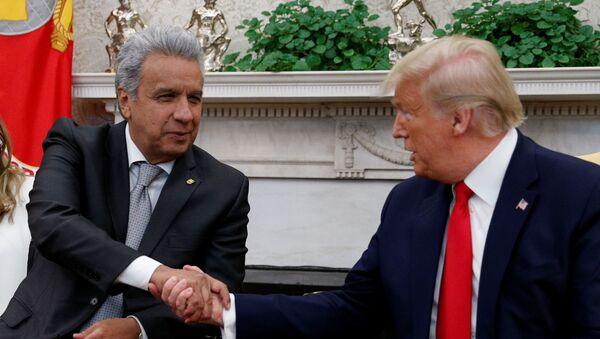 El presidente ecuatoriano, Lenín Moreno, y su homólogo estadounidense, Donald Trump (archivo) - Sputnik Mundo