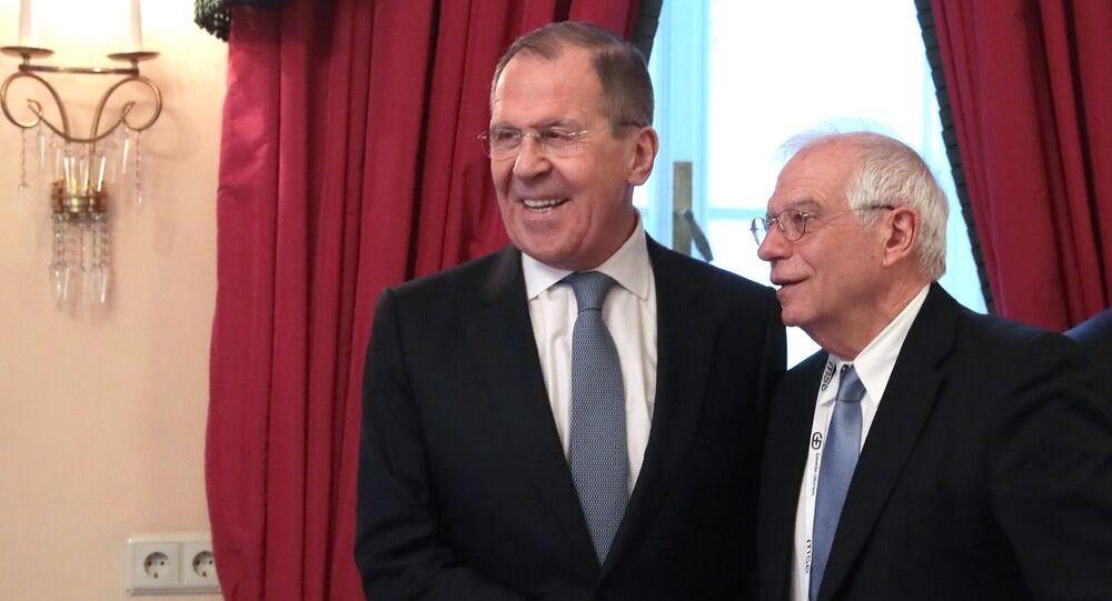Сanciller ruso, Serguéi Lavrov, y alto representante de la Unión Europea, Josep Borrell