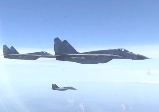 Cazas serbios acompañan el avión del ministro de Defensa de Rusia