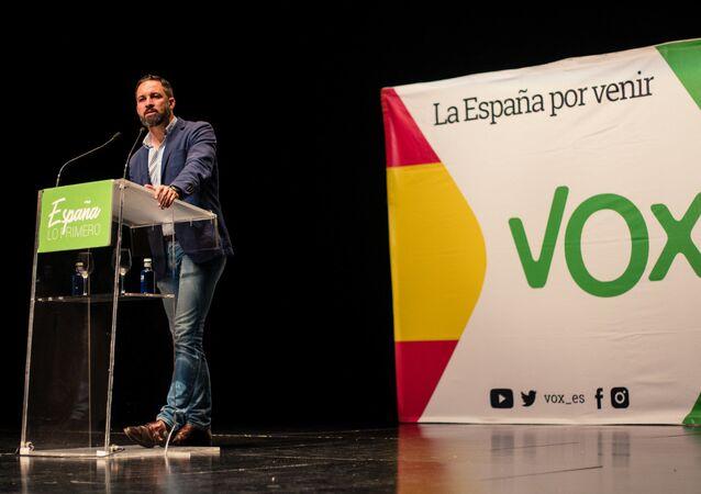 Santiago Abascal, líder de Vox, durante un acto en 2018