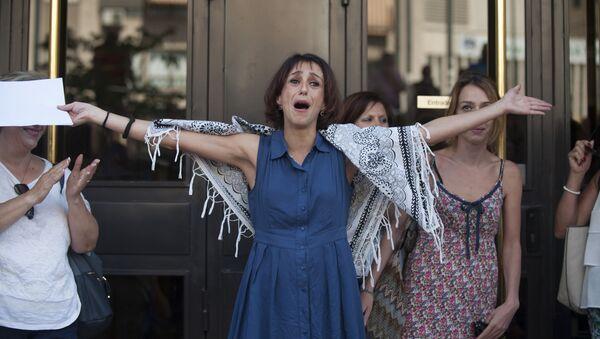 Juana Rivas a la salida de los Juzgados de Granada - Sputnik Mundo