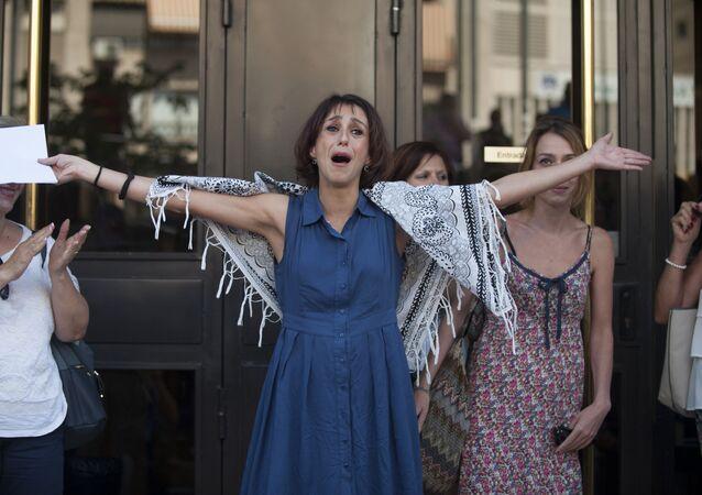 Juana Rivas a la salida de los Juzgados de Granada