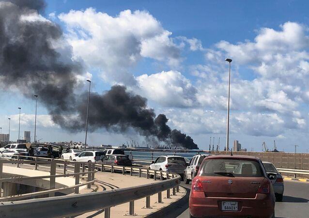 Situación en el puerto de Trípoli