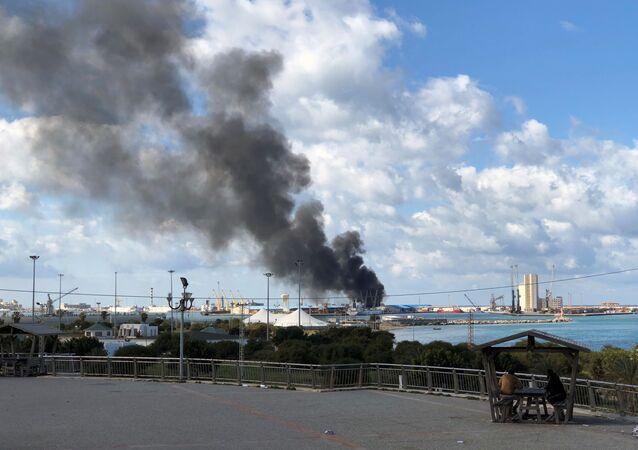El puerto de Trípoli, Libia, tras el ataque