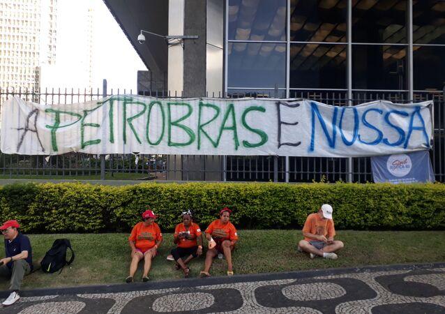 Protesta de los trabajadores de Petrobras en Río de Janeiro, Brasil