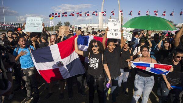 Protesta frente a la Junta Central Electoral de la República Dominicana en Santo Domingo - Sputnik Mundo