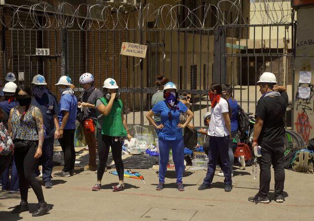 Piquete sanitario en inmediaciones de Plaza de la Dignidad