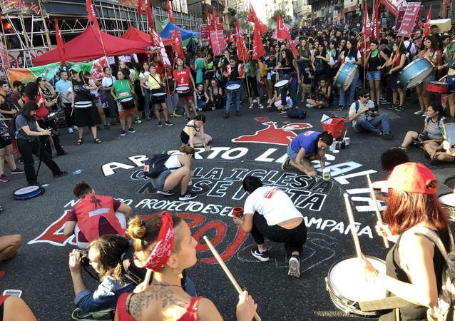 Una marcha por el aborto legal en Buenos Aires