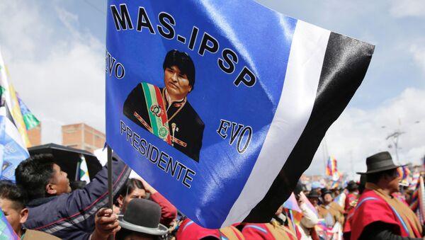 Simpatizantes del Movimiento Al Socialismo con una bandera de Evo Morales - Sputnik Mundo
