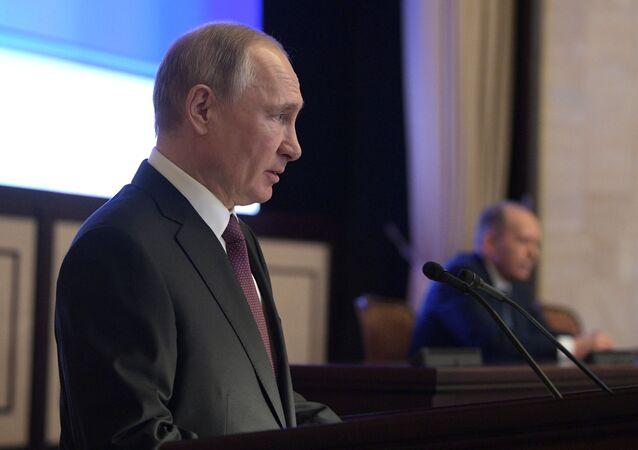 El presidente ruso, Vladímir Putin, en una reunión del Servicio de Seguridad Federal