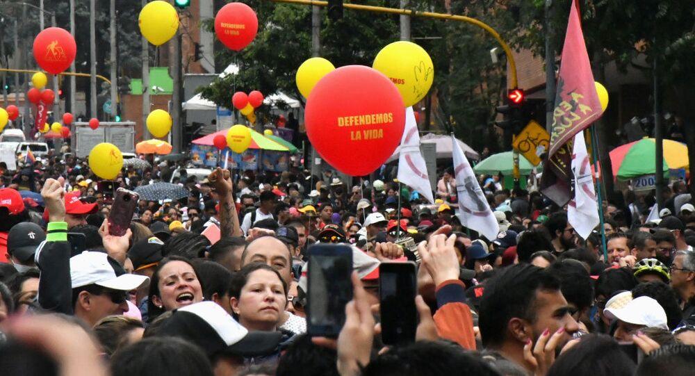 Marcha de los docentes en Colombia