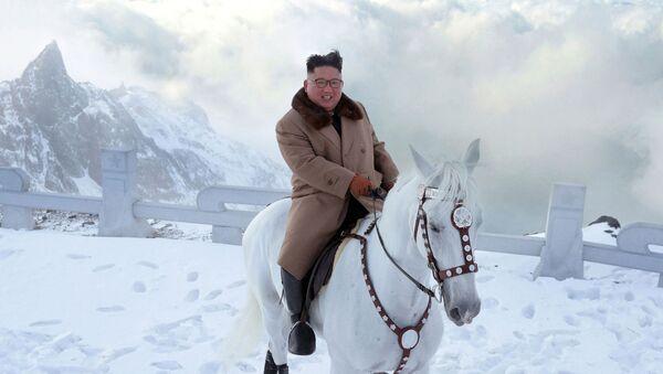 Kim Jong-un montado sobre un corcel blanco - Sputnik Mundo