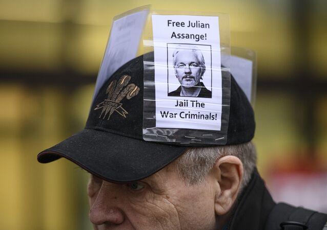 Una manifestación en apoyo a Julian Assange