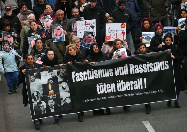 Una protesta contra extremismo en Hanau