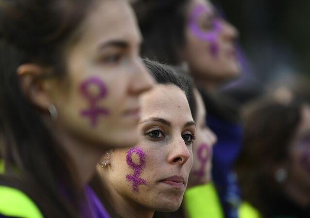 Mujeres en la manifestación del 8 de marzo en Madrid.