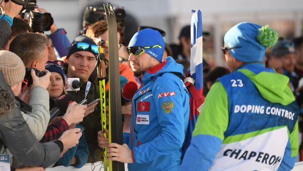 Deportista Alexandr Lóguinov en el Mundial de Biatlón de Italia - Sputnik Mundo
