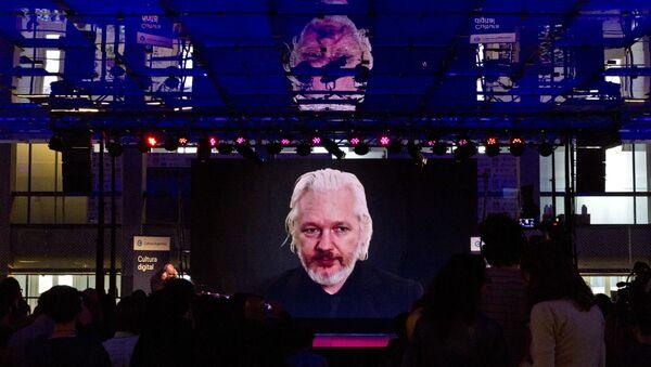 Julian Assange durante una vídeoconferencia - Sputnik Mundo