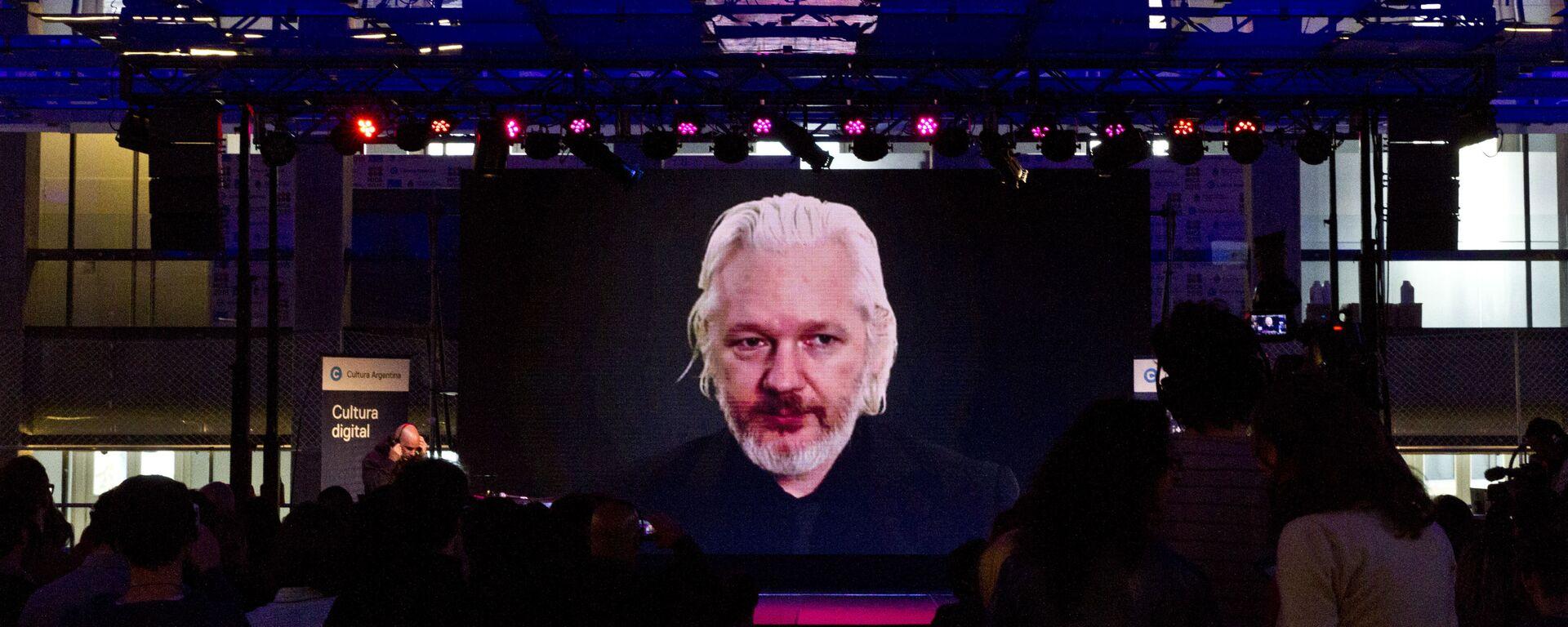 Julian Assange durante una vídeoconferencia - Sputnik Mundo, 1920, 30.04.2021