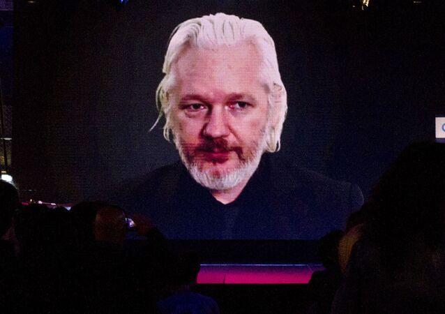 Julian Assange durante una vídeoconferencia