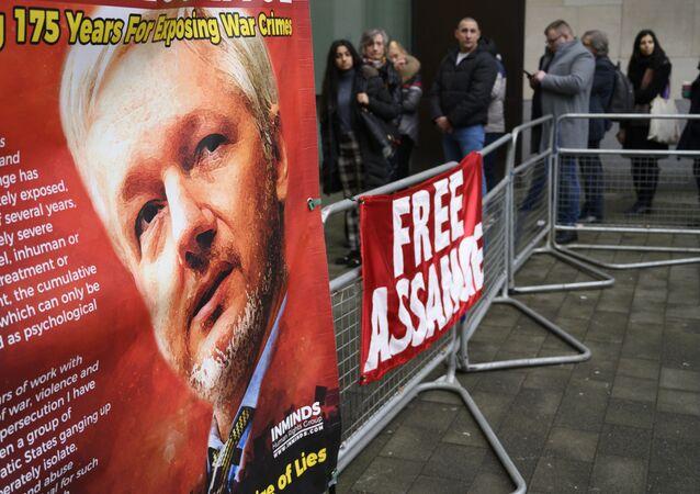 La protesta contra la extradición de Assange en Londres