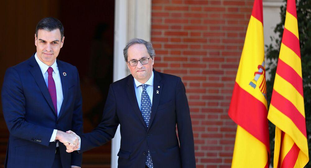 El presidente del Gobierno español, Pedro Sánchez, y el presidente de la Generalitat, Quim Torra
