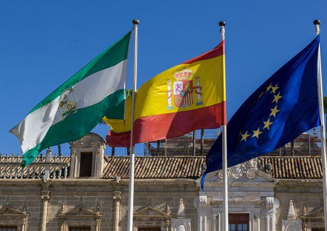 Banderas andaluza, española y de la UE