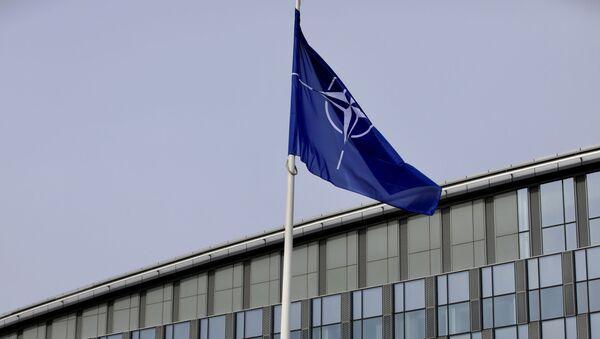La bandera de la OTAN y de algunos de sus miembros ondean frente a la sede de la organización en Bruselas - Sputnik Mundo