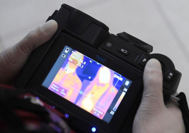 Una cámara térmica para medir la temperatura