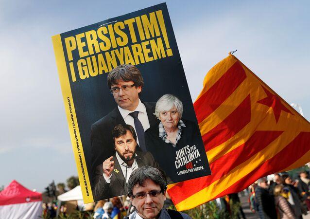 La multitud en el mitin de Puigdemont en Perpiñán, Francia