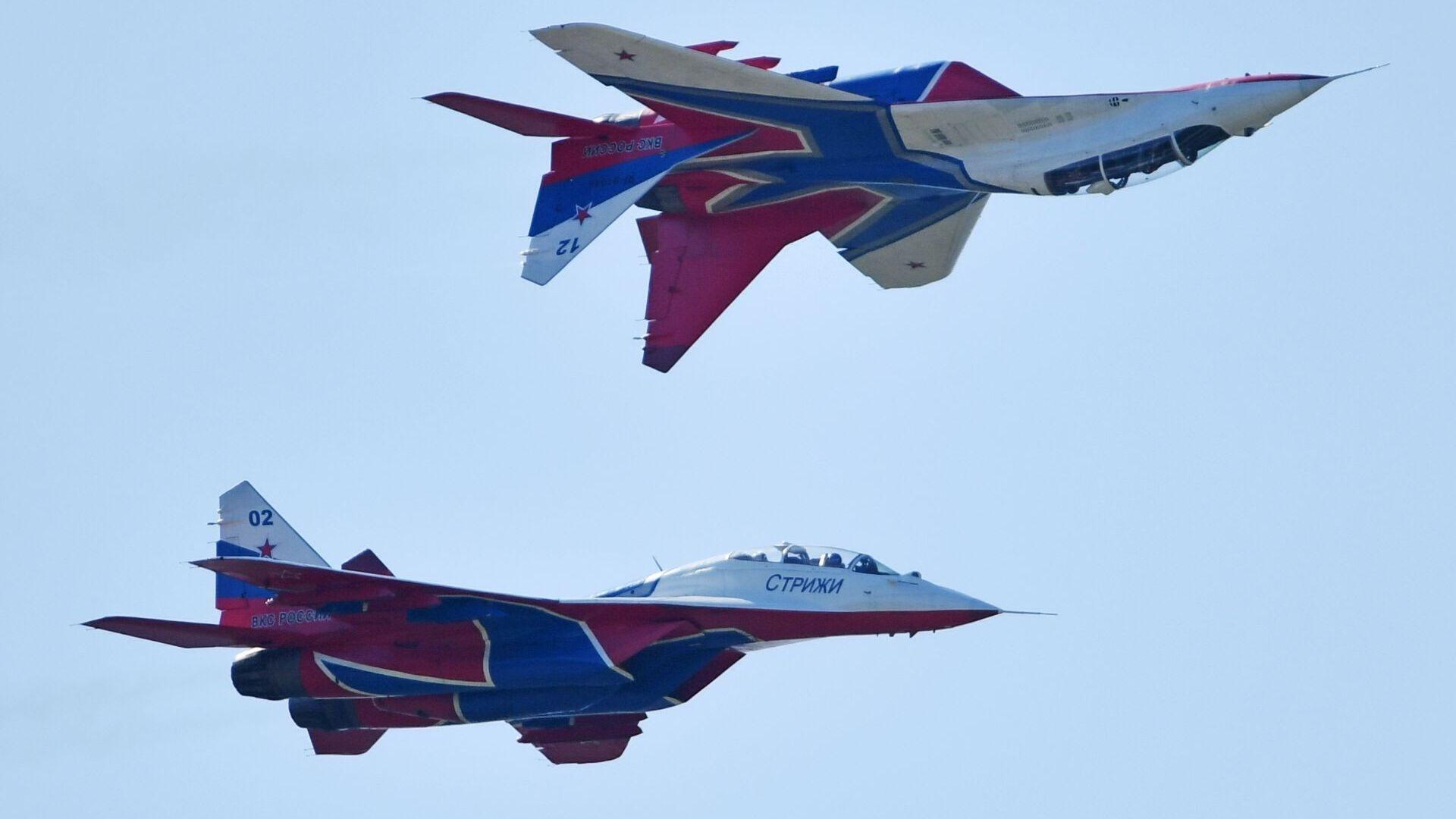 Los MiG-29 del grupo de demostración acrobática Strizhí de la Fuerza Aérea de Rusia (archivo) - Sputnik Mundo, 1920, 21.07.2021
