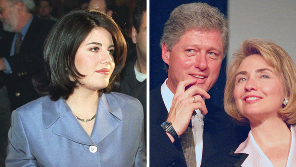 Monica Lewinsky (izda.), Bill y Hillary Clinton (dcha.) - Sputnik Mundo