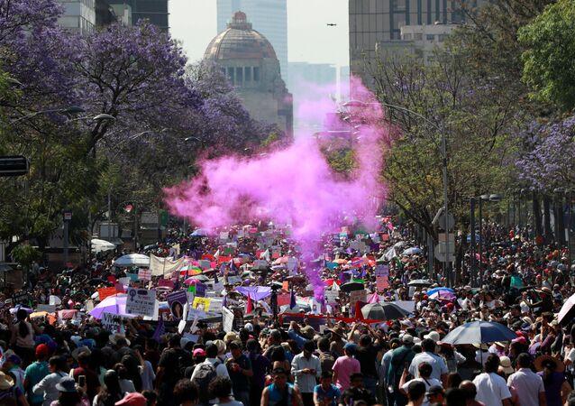 La manifestación en el Día Internacional de la Mujer en México