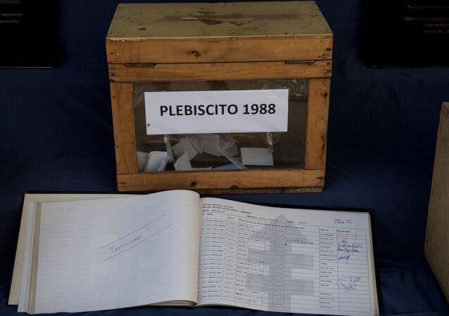 Caja usada durante el plebiscito de 1988 en Chile