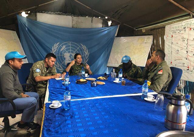 La militar uruguaya Valeria Rodríguez junto a otros efectivos en la misión de paz en la República Democrática del Congo