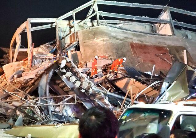 Hotel Xinjia, derrumbado en China el 7 de marzo de 2020