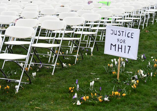 Un cartel en el que se lee 'Justicia para el MH17'