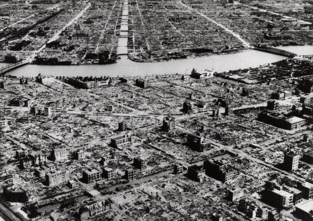 Tokio destruida tras el bombardeo de EEUU, marzo de 1945