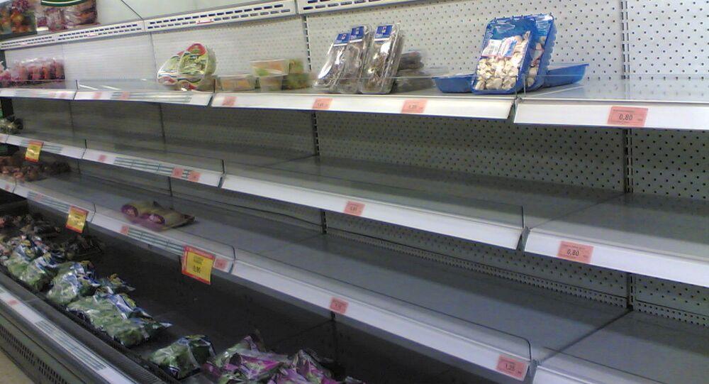 Estantes vacíos en el supermercado de Mercadona