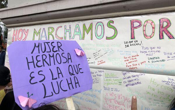 Carteles durante la marcha de mujeres del 9 de marzo de 2020 en Buenos Aires, Argentina - Sputnik Mundo