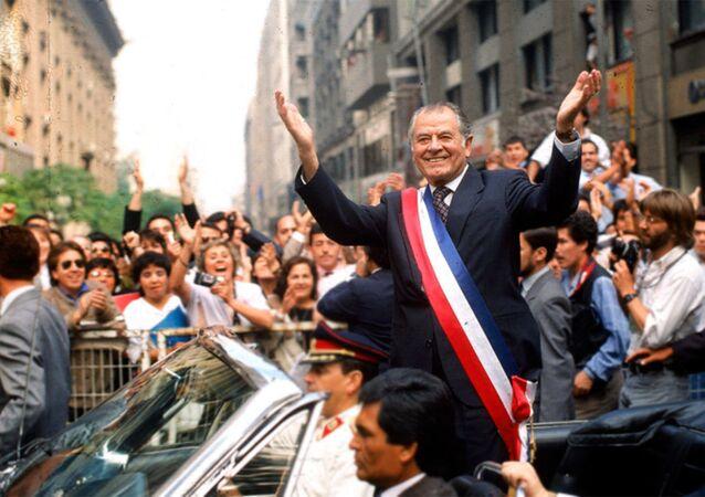 El expresidente chileno Patricio Aylwin el día de su asunción