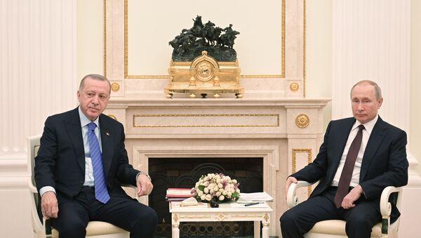 El presidente de Turquía, Recep Tayyip Erdogan, y el presidente ruso, Vladímir Putin. En la repisa de la chimenea, se puede ver una escultura dedicada a la hazaña de los soldados rusos que derrotaron a los turcos en Bulgaria en 1877-1878 - Sputnik Mundo
