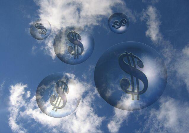Burbujas con signos de dólar