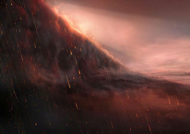 Ilustración de la lluvia de hierro en el exoplaneta WASP-76b
