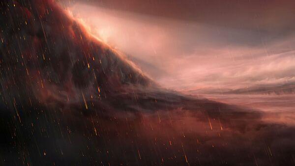 Ilustración de la lluvia de hierro en el exoplaneta WASP-76b - Sputnik Mundo