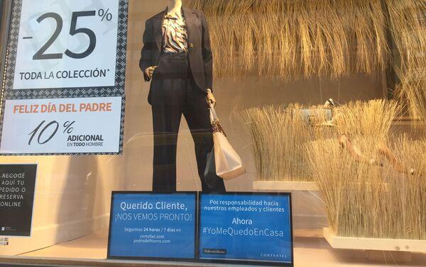 Tiendas en Madrid anuncian cierre Yo me quedo en casa - Sputnik Mundo
