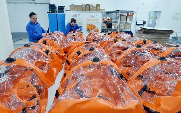 La producción de cápsulas herméticas para portadores del coronavirus - Sputnik Mundo