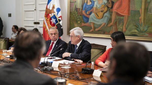 Presidente de Chile, Sebastián Piñera, en reunión para analizar medidas por coronavirus - Sputnik Mundo